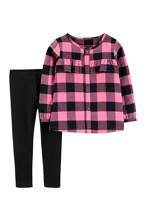 Carter's® Toddler Girls 2-Piece Buffalo Check Top and