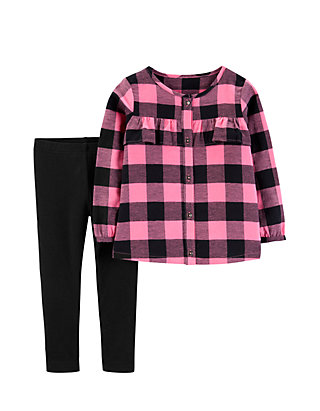 5a7a9319 Carter's® Toddler Girls 2-Piece Buffalo Check Top and Leggings Set ...