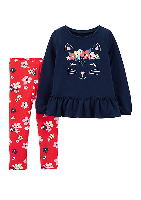 Carter's® Toddler Girls 2-Piece Kitty French Terry Top