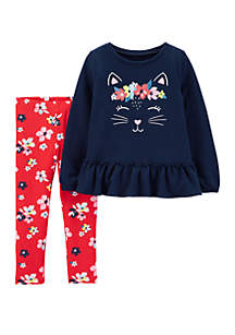 Toddler Girls 2-Piece Kitty French Terry Top and Floral Legging Set