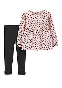 Girls 2-6x Pink Cheetah Print Set