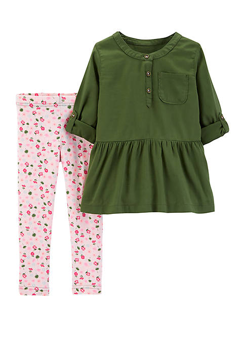 Carter's® Girls 2-6x Floral Legging with Olive Woven