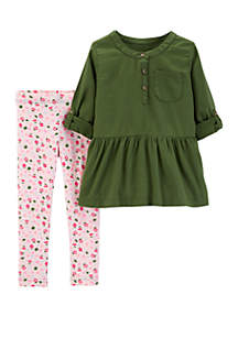 9eb5a2be0105d9 ... Carter s® Girls 2-6x Floral Legging with Olive Woven Top Set