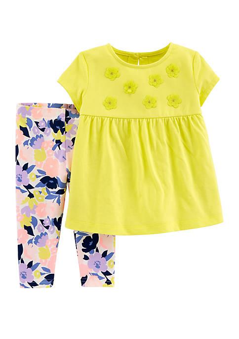 Toddler Girls 2 Piece Floral Top and Legging Set