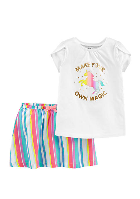 Toddler Girls 2-Piece Unicorn Top and Rainbow Skirt Set