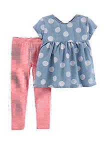 Carter's® Toddler Girls 2-Piece Polka Dot Chambray Top and Striped Legging Set