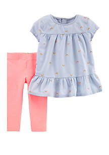 Carter's® Toddler Girls Rainbow Peplum Top and Legging Set
