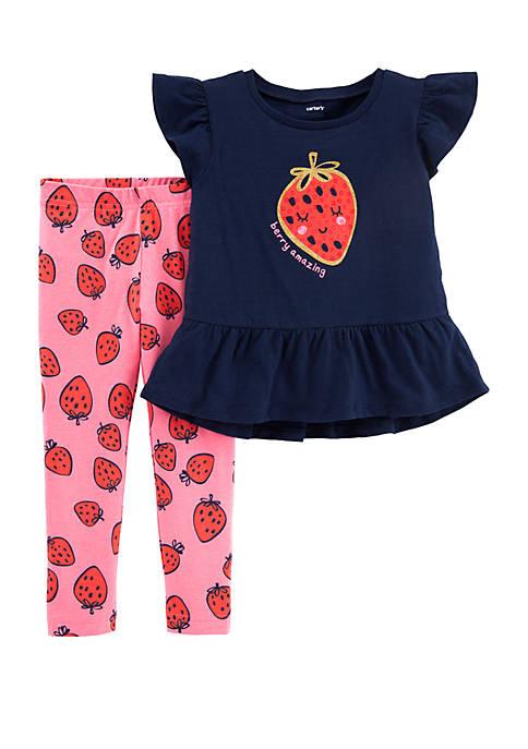 Carter's® Toddler Girls Glitter Strawberry Top and Legging