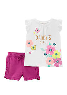 Carter's® Toddler Girls 2 Piece Daddy's Girl Floral Top and Ruffle Short Set