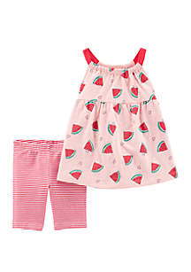 Carter's® Toddler Girls 2 Piece Watermelon Tank and Bike Short Set