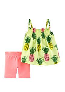 Carter's® Toddler Girls Two Piece Neon Pineapple Tank and Tumbling Shorts Set