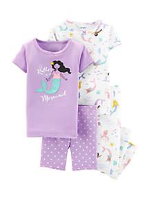 Carter's® Toddler Girls 4-Piece Mermaid Snug Fit Cotton Pajamas