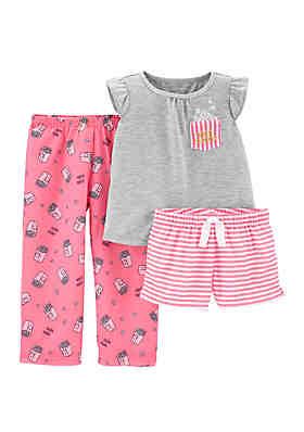47a41e3f8e8f Carter s® Toddler Girls 3 Piece Popcorn Pajama ...