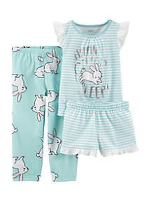 Carter's® Toddler Girls 3-Piece Bunny Pajamas
