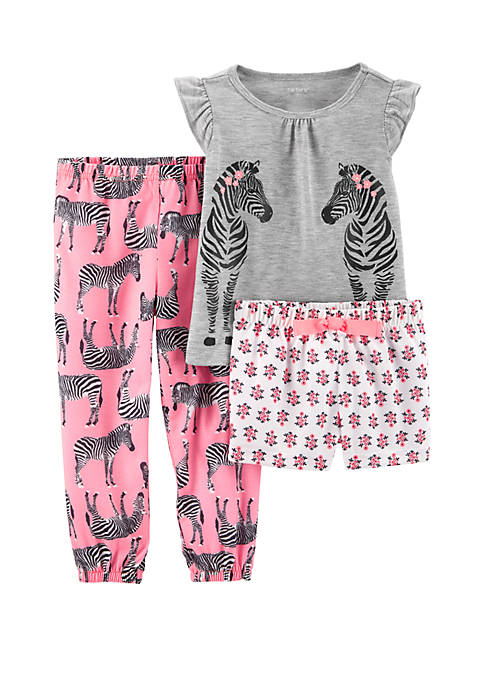 Carter's® Toddler Girls 3-Piece Zebra Pajamas