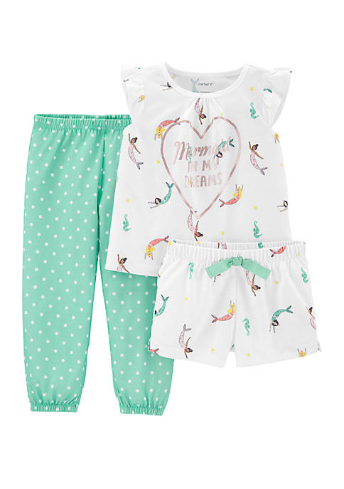 Toddler Girls 3 Piece Mermaid Pajama Set
