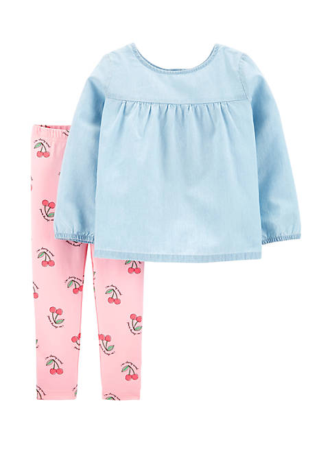 Carter's® Toddler Girls 2 Piece Chambray Top and