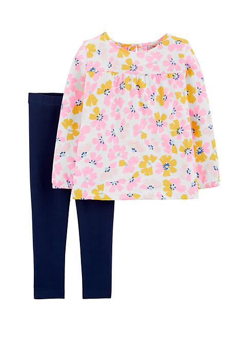 Carter's® Toddler Girls 2 Piece Floral Slub Jersey