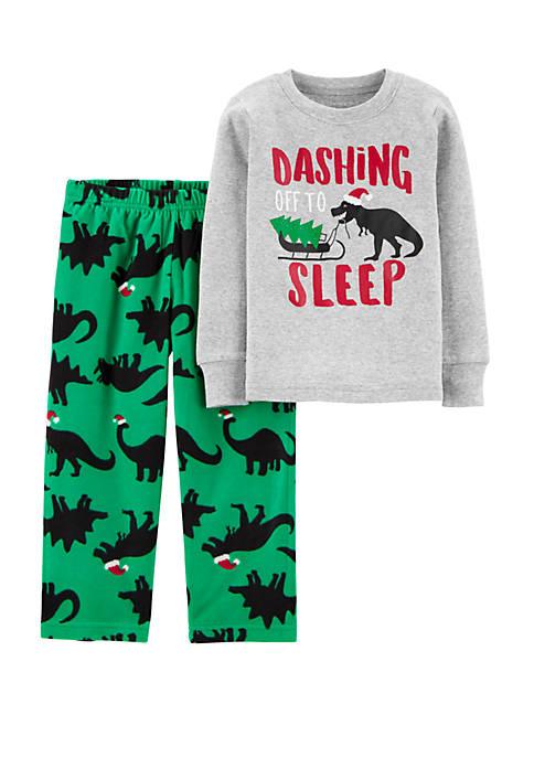 Carter's® Toddler Boys 2 Piece Christmas Dinosaur Pajama
