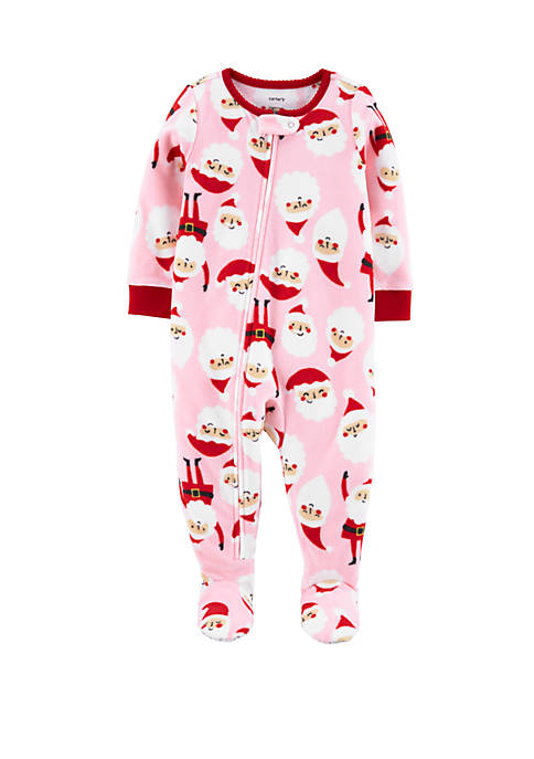 Carter's® Baby Girls One Piece Santa Fleece Footie