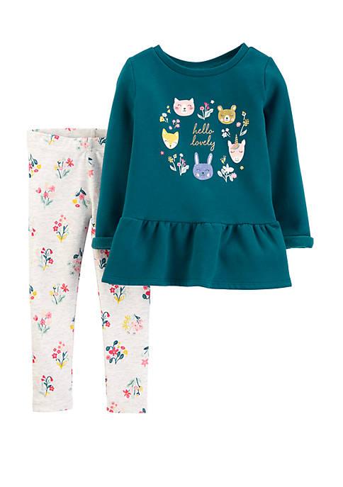 Carter's® Toddler Girls 2 Piece Peplum Top and