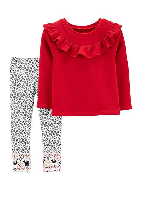 Carter's® Toddler Girls 2 Piece Ruffle Fleece Top