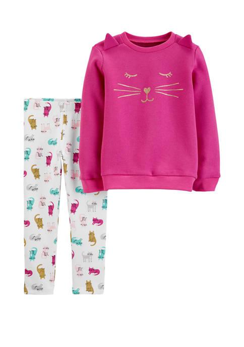 Carter's® Toddler Girls 2-Piece Cat Fleece Pullover &