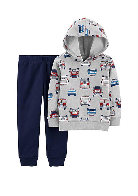 Carter's® Toddler Boys 2 Piece Firetruck Pullover Hoodie