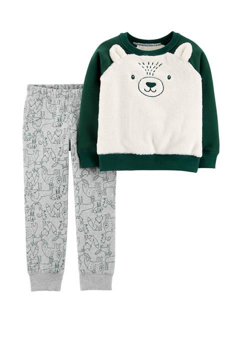 Carter's® Toddler Boys 2 Piece Fuzzy Bear Pullover