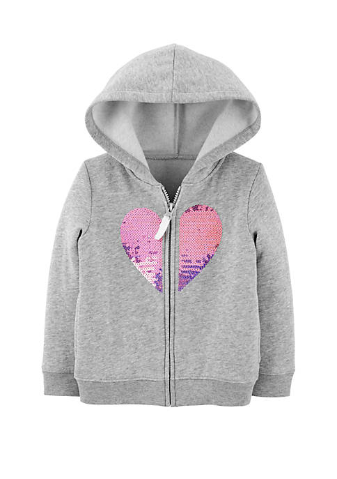Carter's® Toddler Girls Sequin Heart Zip Up Fleece