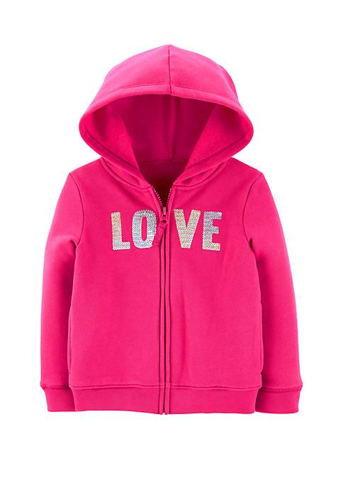 Carter's® Toddler Girls Sequin Love Zip Up Fleece