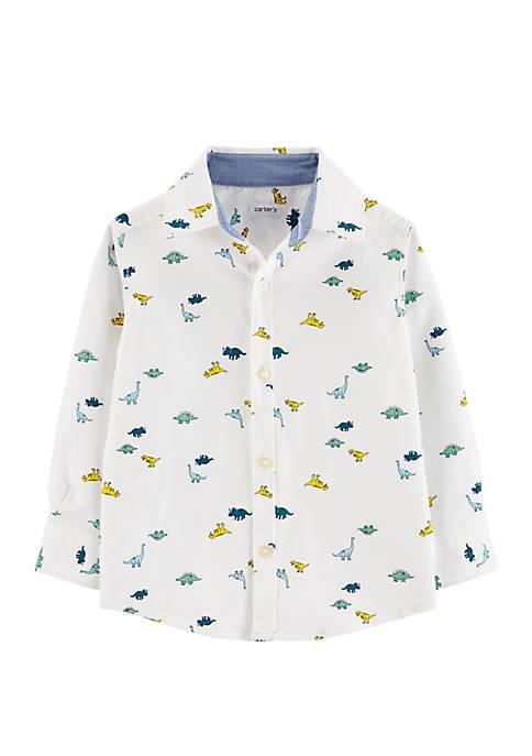 Carter's® Toddler Boys Long Sleeve Dino Woven Shirt