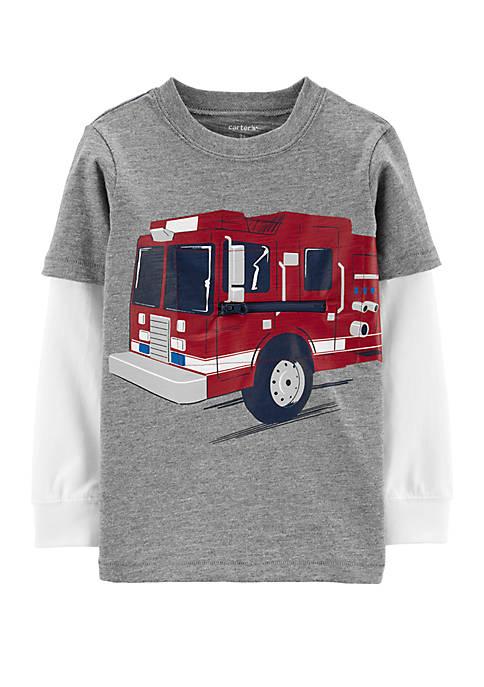 Carter's® Toddler Boys Firetruck Layered Look Slub T