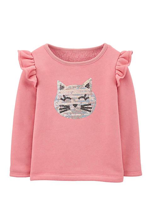 Carter's® Toddler Girls Sequin Cat Fleece Top