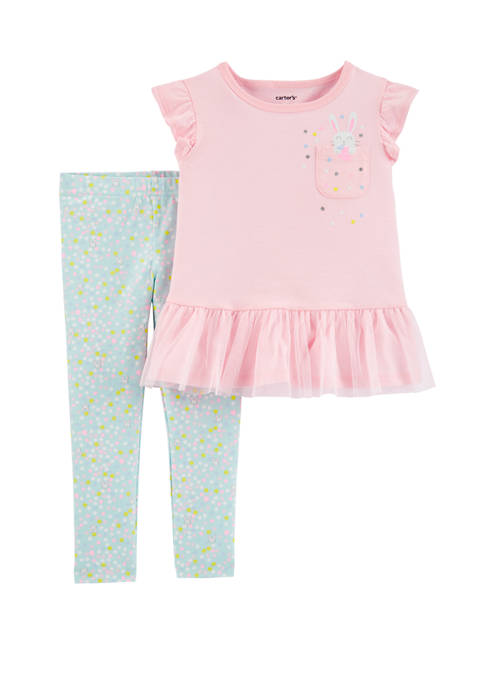 Carter's® Toddler Girls 2 Piece Bunny Peplum T-Shirt