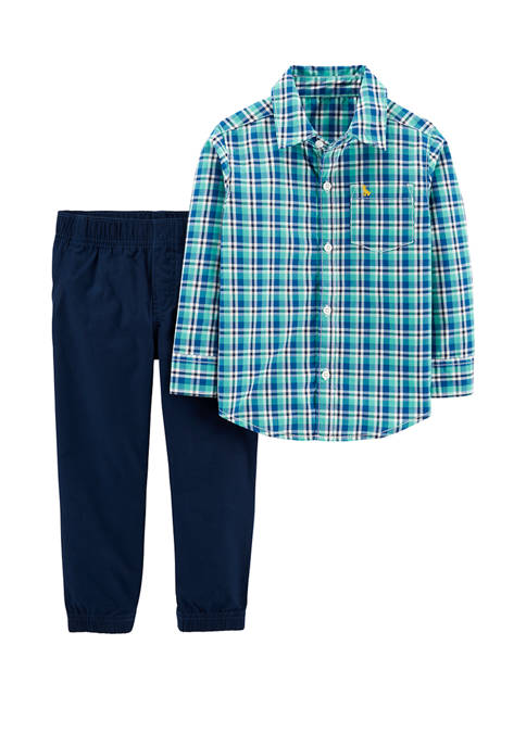 Carter's® Toddler Boys 2 Piece Plaid Button Front