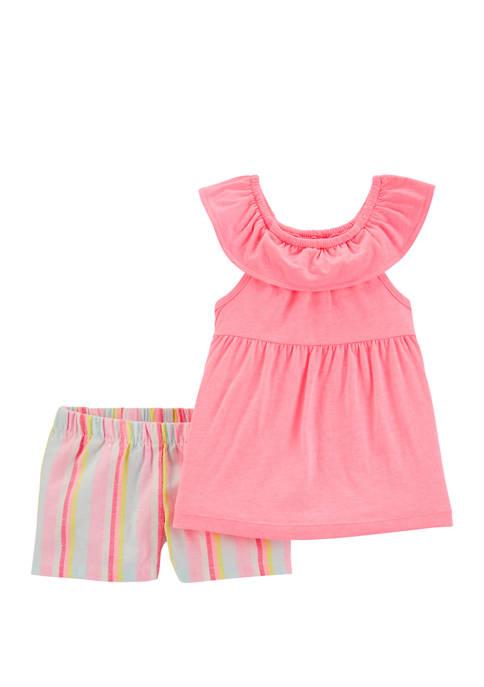 Carter's® Toddler Girls 2 Piece Neon Ruffle Top