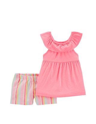 Carters Baby Girls Tiered Ruffle Tankini Set 2T Orange