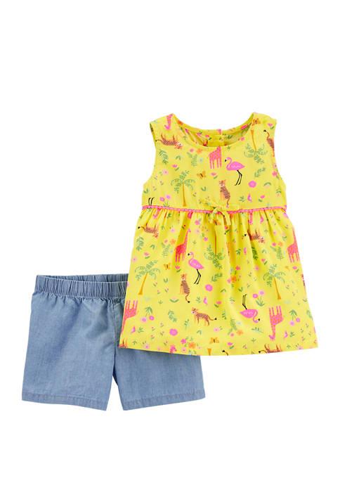 Carter's® Toddler Girls 2 Piece Jungle Poplin Tank