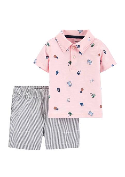 Carter's® Toddler Boys 2 Piece Beach Polo and