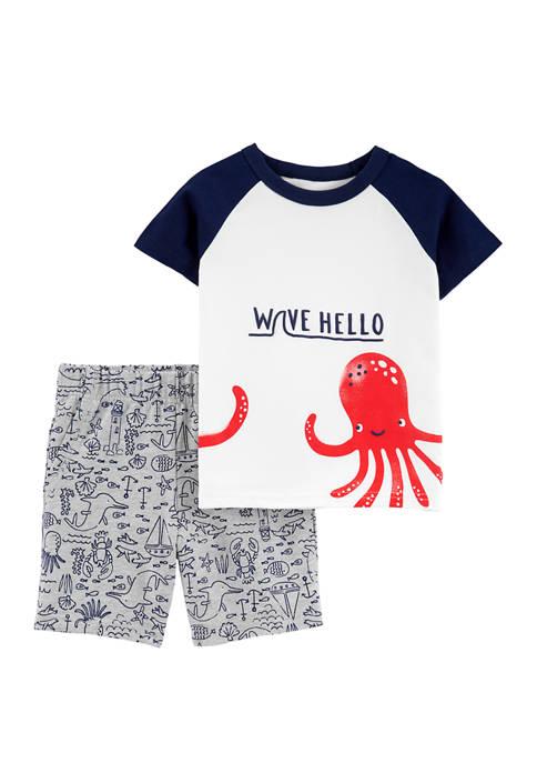 Carter's® Boys 4-7 2 Piece Octopus Raglan Jersey
