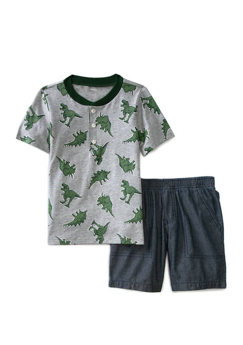 Toddler Boys Dinosaur Chambray Short Set