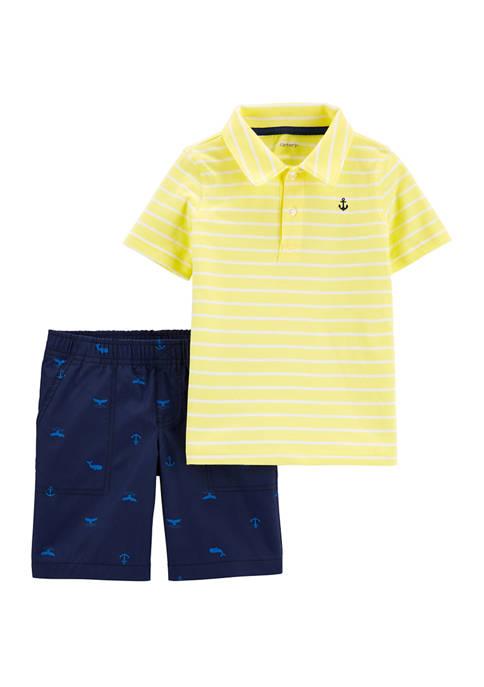 Carter's® Toddler Boys 2 Piece Striped Polo T-Shirt