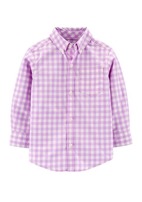 Boys 4-7 Gingham Button Front Poplin Shirt