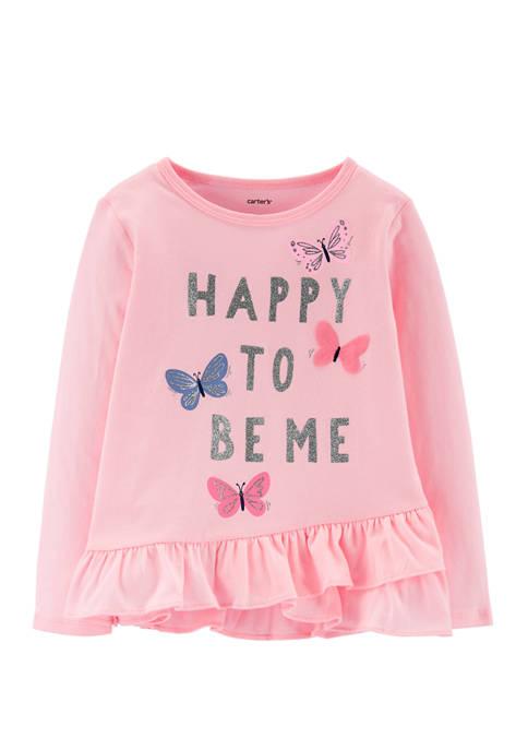 Carter's® Toddler Girls Glitter Butterfly Ruffle Jersey T-Shirt