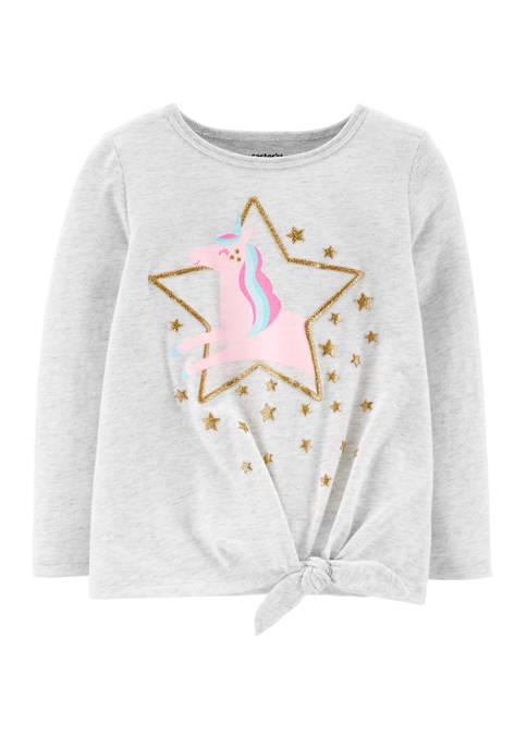 Carter's® Toddler Girls Glitter Unicorn Tie Front Jersey
