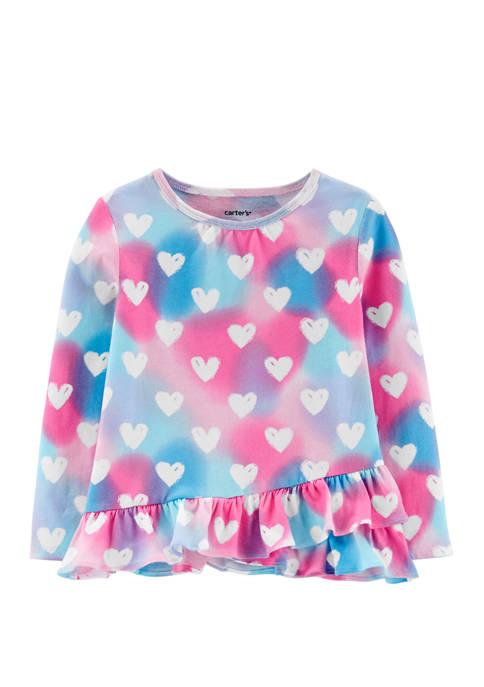 Carter's® Toddler Girls Rainbow Heart Ruffle Jersey T-Shirt