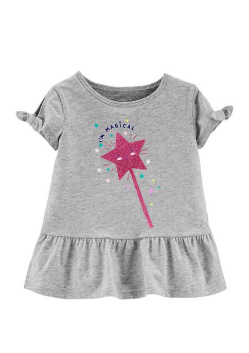 Carter's® Toddler Girls Peplum Glitter Wand Graphic Top