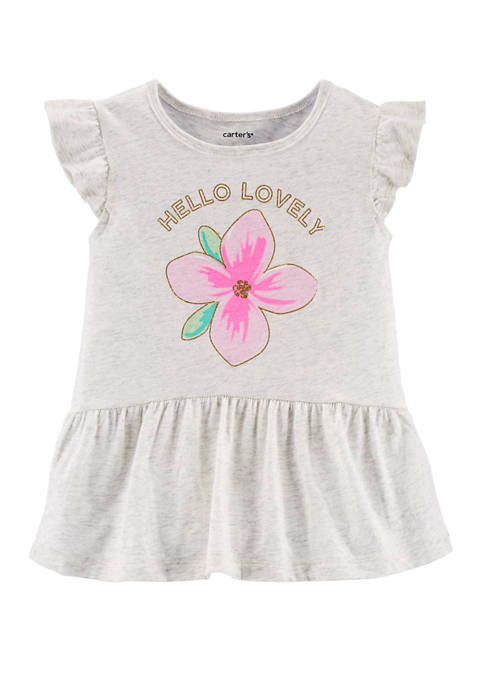 Carter's® Toddler Girls Glitter Floral Peplum Graphic Top