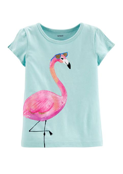 Carter's® Toddler Girls Flamingo Split Shoulder Jersey Graphic